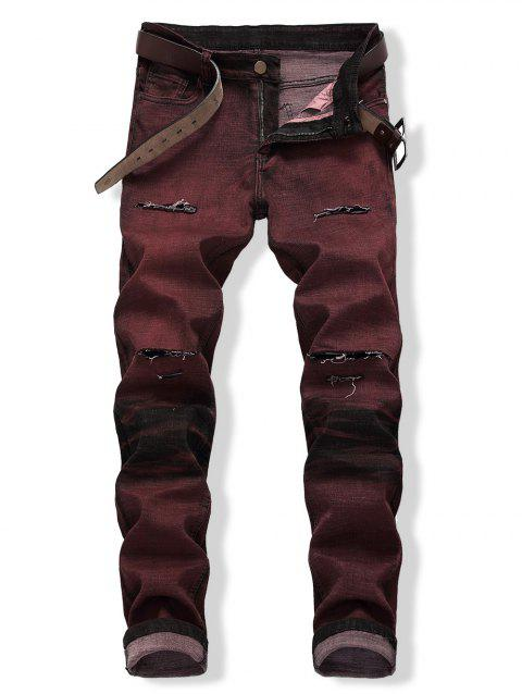 Zip Fly Distressed Colored Wash Jeans - BLOOD RED EU 34