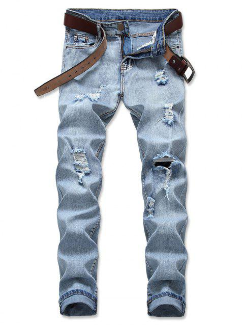 Light Wash Zip Fly Distressed Jeans - CRYSTAL CREAM EU 40