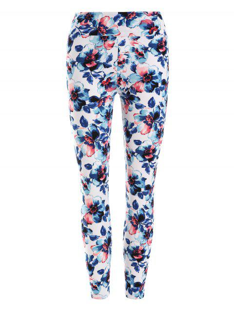 Floral Pattern Leggings - WHITE ONE SIZE