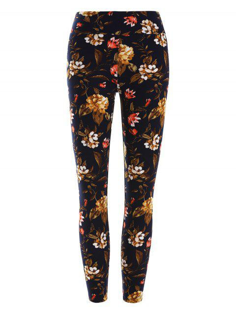 Floral Print Stretchy Leggings - multicolor ONE SIZE