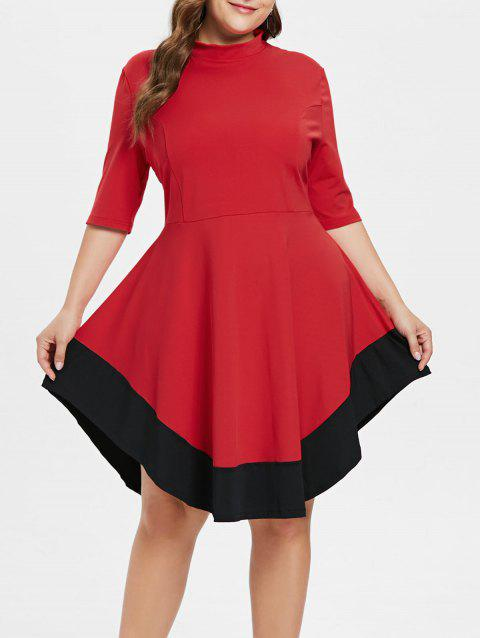 Plus Size Mock Neck Color Block Dress - RED 2X