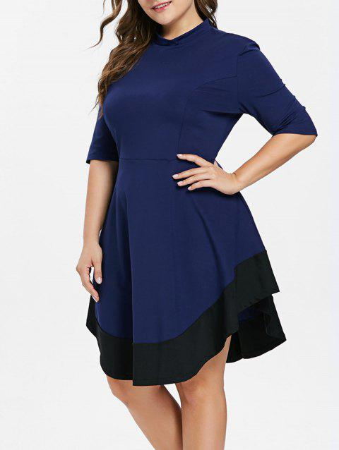 Plus Size Mock Neck Color Block Dress - NAVY BLUE 1X