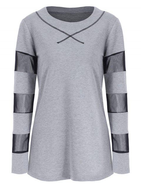 Long Sleeve Breathable Mesh Panel T-shirt - GRAY XL