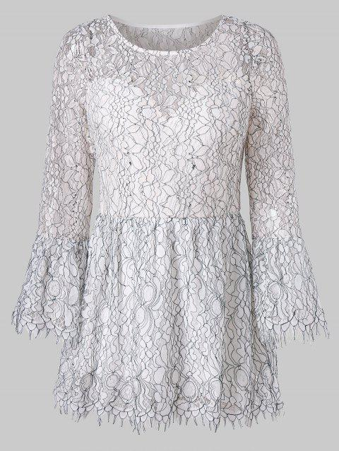 Bell Sleeve Lace Peplum Blouse - WHITE L