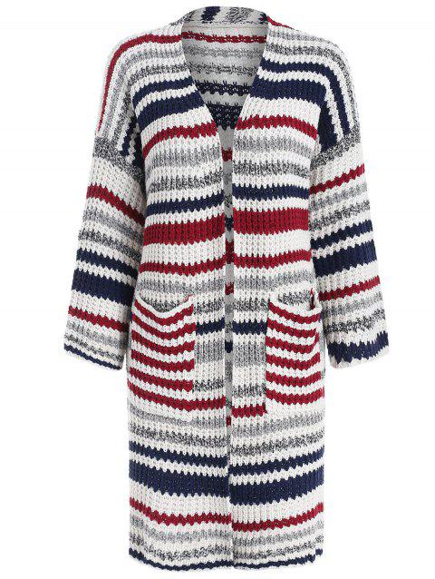 Striped Long Cardigan - multicolor ONE SIZE