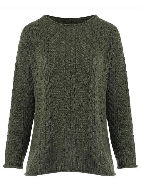 Round Neck Cable Knit Crimping Sweater - ARMY GREEN ONE SIZE