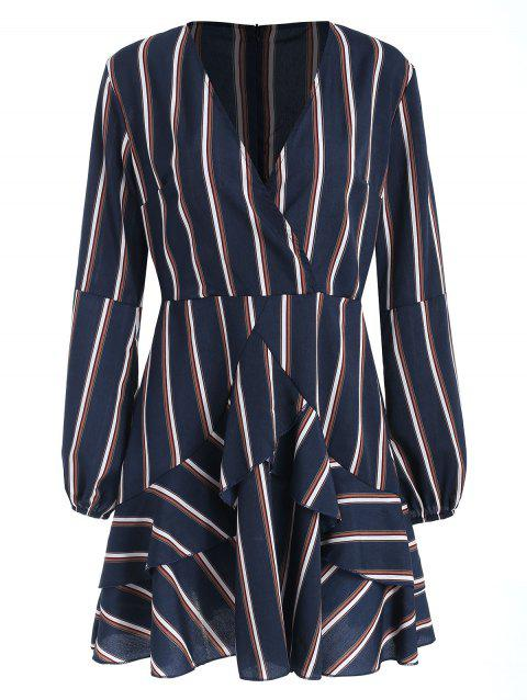 Long Sleeve Low Cut Stripe Ruffles Dress - multicolor XL