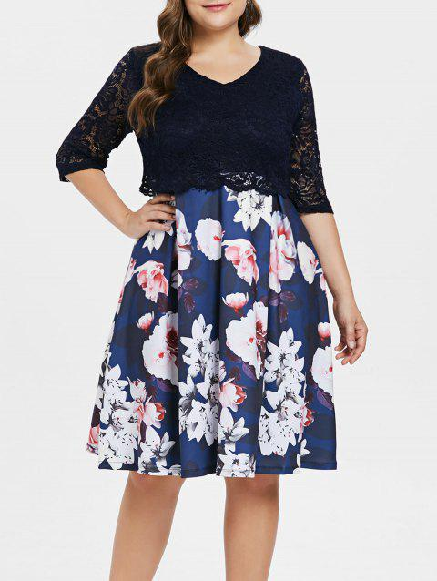 V Neck Plus Size Floral Print Dress - CADETBLUE L