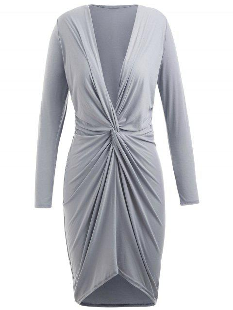 Twist Front Long Sleeve Plunging Neckline Dress - LIGHT GRAY L