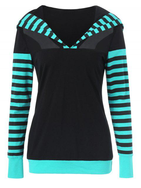 Drop Shoulder Mesh Panel Stripe Hoodie - BLACK L