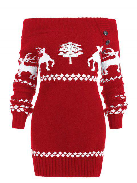 Off The Shoulder Reindeer Knit Tunic Sweater - RED XL