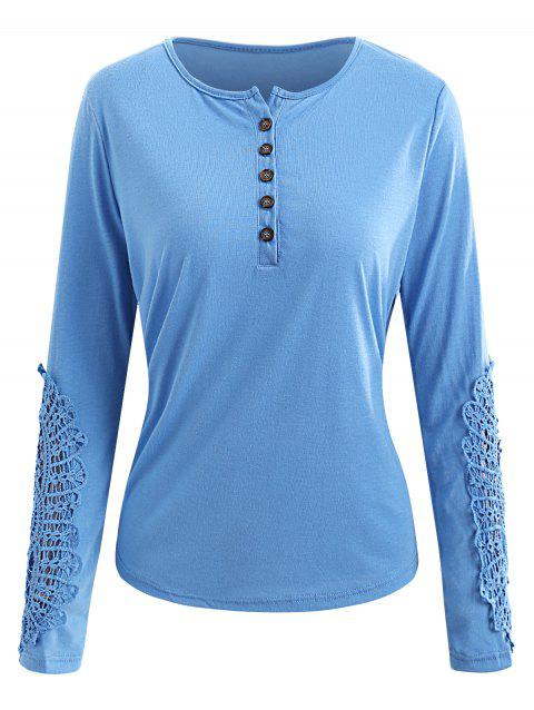 Casual Lace Splicing Scoop Neck Long Sleeve T-Shirt For Women - LIGHT BLUE S