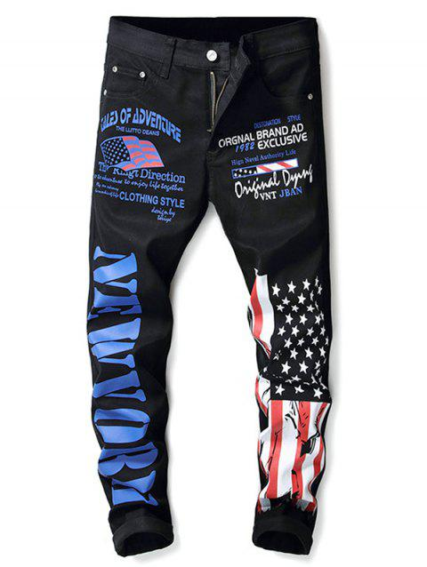 Zip Fly Letter and American Flag Print Jeans - BLACK 32