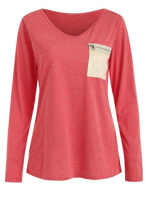 Zip Breast Pocket T-shirt - RED S