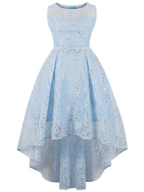 Plus Size Round Neck Lace High Low Dress - SEA BLUE 3X