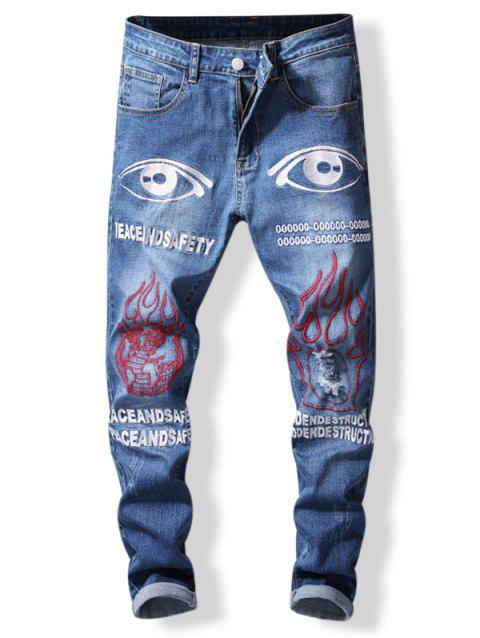 Letter and Eyes Print Tapered Jeans - BLUE 38