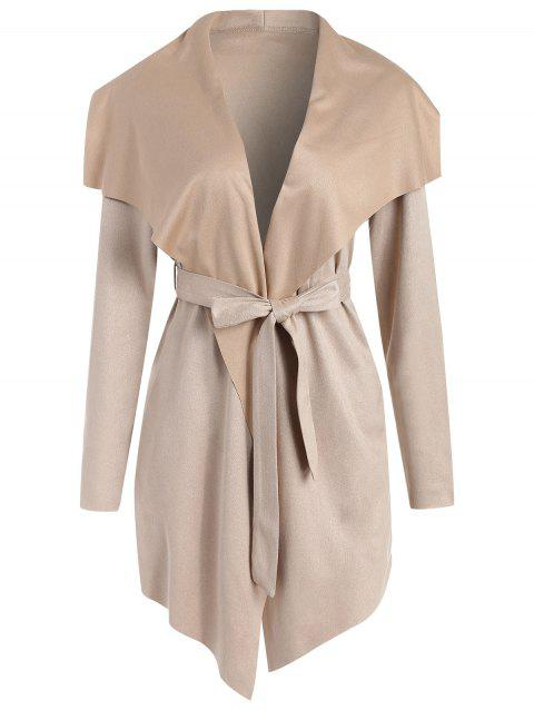 Collarless Asymmetrical Faux Suede Coat - LIGHT KHAKI S