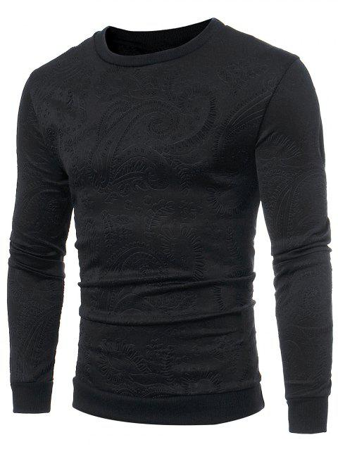 Sweat-Shirt à Manches Longues Motif Filigrane - Noir XL