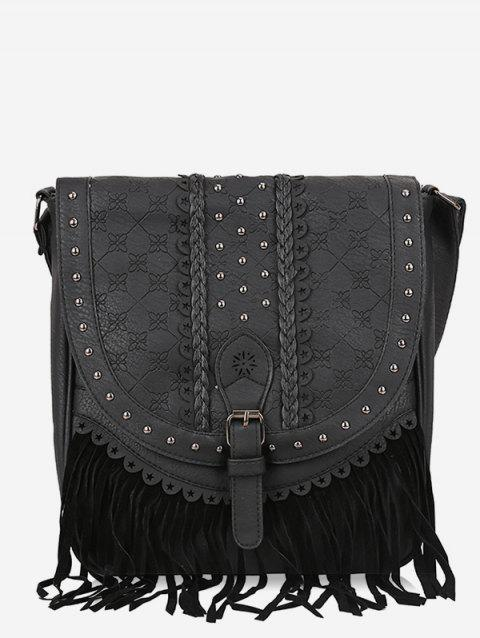 Ethnic Fringe Rivet Crossbody Bag - BLACK