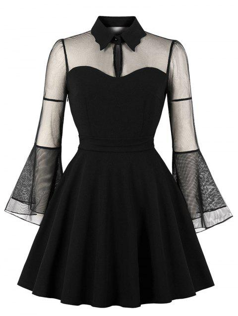 Keyhole Neck Plus Size Mesh Panel Swing Dress - BLACK 3X