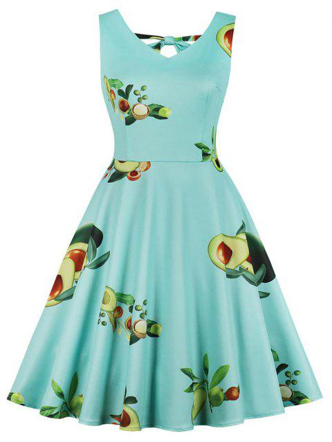 V Neck Plus Size Avocado Print A Line Dress - MACAW BLUE GREEN 4X