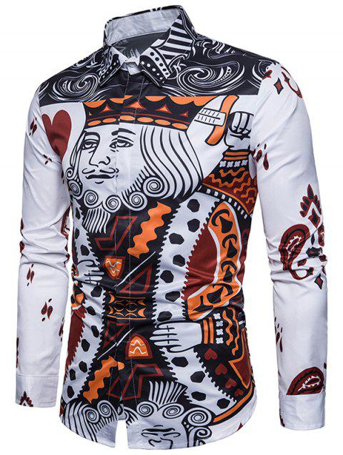 Front Poker Print Covered Button Shirt - WHITE M
