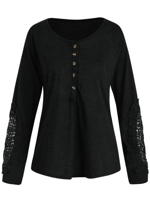 Casual Lace Splicing Scoop Neck Long Sleeve T-Shirt For Women - BLACK S