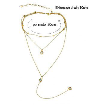 Rhinestone Layer Chain Pendant Necklace - GOLD
