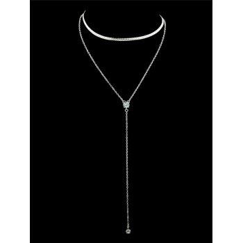 Double Layered Artificial Crystal Chain Necklace - SILVER