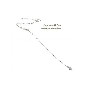 Y Shaped Beads Chain Necklace - SILVER