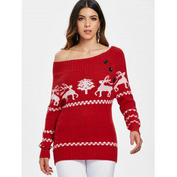 2018 Off The Shoulder Reindeer Knit Tunic Sweater Red M In Sweaters