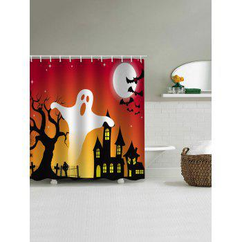 Halloween Ghost Castle Print Waterproof Shower Curtain - RED W71 X L79 INCH