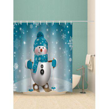 Snowman Snowflake Printed Waterproof Bathroom Curtain - BABY BLUE W59 X L71 INCH