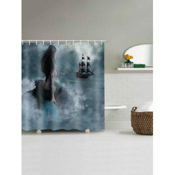 Mermaid Printed Waterproof Bathroom Curtain - BLUE GRAY W71 X L79 INCH