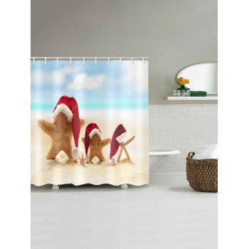 Christmas Hat Starfish Printed Waterproof Curtain - RED W59 X L71 INCH