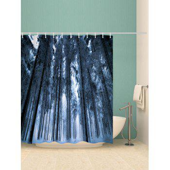 Forest Snow Print Bathroom Shower Curtain - multicolor W71 X L71 INCH