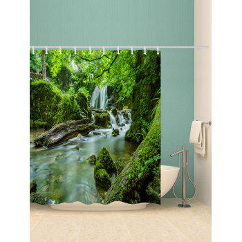 Forest Waterfall River Print Waterproof Shower Curtain - MEDIUM SPRING GREEN W59 X L71 INCH