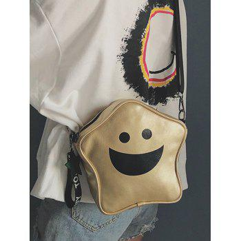 Smile Star Shape PU Leather Crossbody Bag - GOLD