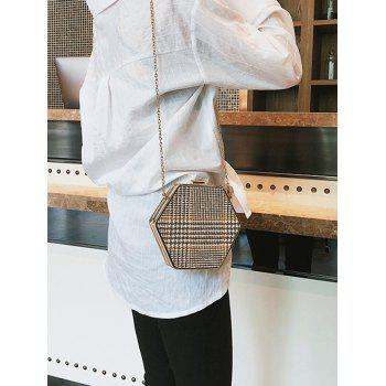 Geometric Shape Check Print Chain Crossbody Bag - KHAKI