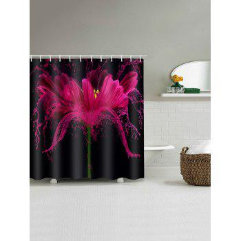 3D Flower Printed Waterproof Bathroom Curtain - RED W71 X L71 INCH