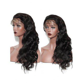 Long Free Part Body Wave Real Human Hair Lace Front Wig - NATURAL BLACK 14INCH