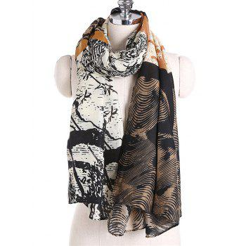 Unique Color Splice Ethnic Style Long Scarf - BROWN