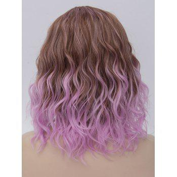 Medium Side Parting Ombre Natural Wavy Cosplay Synthetic Wig - multicolor A