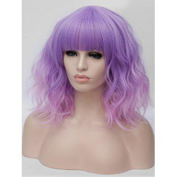 Medium Full Bang Ombre Natural Wavy Party Synthetic Wig - multicolor C