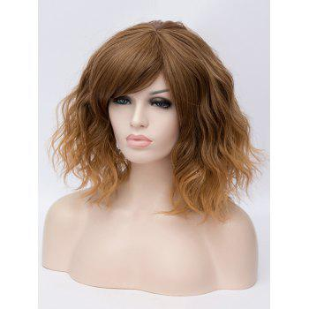 Medium Inclined Bang Ombre Natural Wavy Party Synthetic Wig - multicolor D