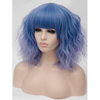 Medium Full Bang Ombre Natural Wavy Party Synthetic Wig - multicolor E