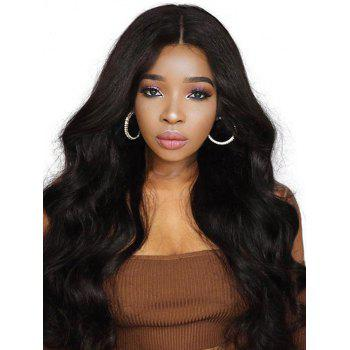 Free Part Long Body Wave Real Human Hair Lace Front Wig - NATURAL BLACK 14INCH