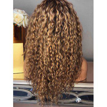 Long Inclined Bang Curly Colormix Party Synthetic Wig - BROWN