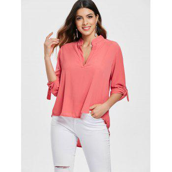 Simple Style Solid Color V-Neck 3/4 Sleeve Chiffon Blouse For Women - BRICK RED M