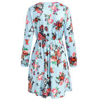 Long Sleeve Floral Print High Rise Dress - DAY SKY BLUE M